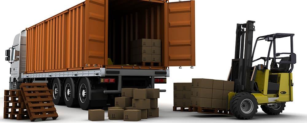 Render 3D de caminhão de cargas.